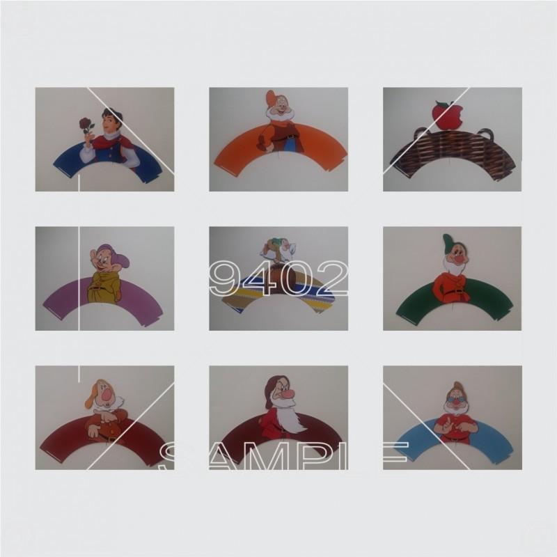 Set od 9 kapkejk omotača i njima odgovarajućih 9 topera na temu Snežana i sedam patuljaka N016